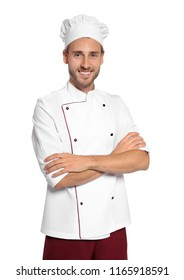 Professional chef wearing uniform on white background
