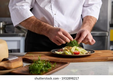 Professional Chef-cook Decorating Dish In Restaurant Kitchen Alone. Man In White Apron Makes Finishing Touch On DIsh, Adding Some Greens. Culinary, Restaurant, Gourmet Concept
