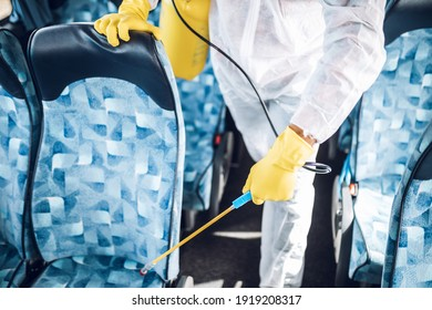 Professional chemical cleaning of bus seats. Bus disinfection.