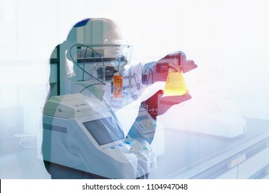 Professional chemistry scientist laboratory woman working in Lab.,Healthcare and medicine researcher science is examining liquid through beaker., Science tools, chemistry, technology, biology concept.