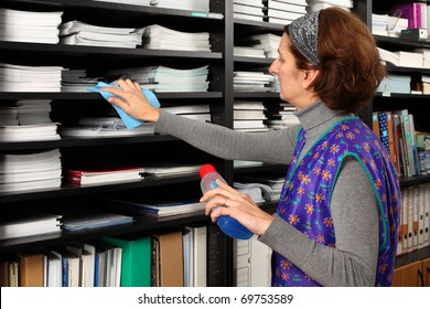 Professional cleaning lady clean office.