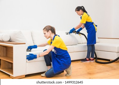 professional cleaning service. Two women in working uniform, in aprons. Two women in working uniform, in aprons, divide the cleaning of private house, cottage. Washing , vacuum cleaning the sofa