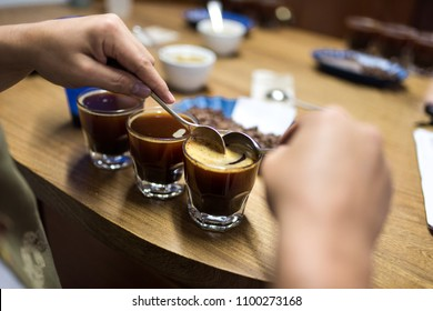 Professional coffee cupping, coffee tasting in Colombia
