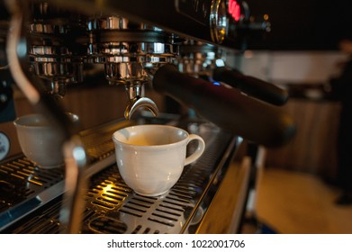 Professional coffee machine in a cafe