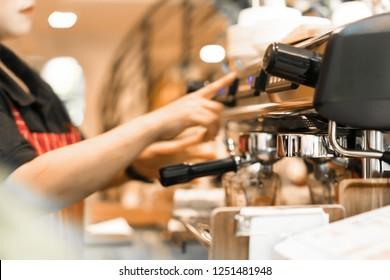 Professional coffee machine in coffee shop or restaurant
