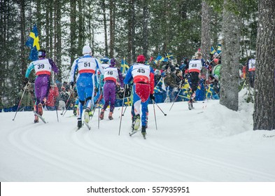 Professional competition in nordic ski - world cup in north of Europe - Concept image for winter olympic games 2018 in Pyeongchang - South Korea