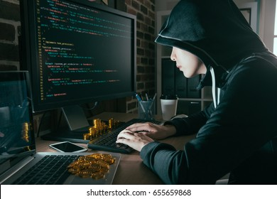 professional computer programmer making bad data virus spreading into global and hacking for getting golden bitcoin ransom from all victim.