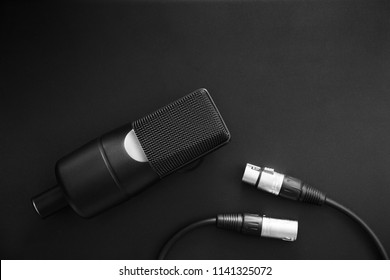 Professional condenser studio microphone and XLR cable on a black background. Music,art and inspiration concept. Black and white toned.