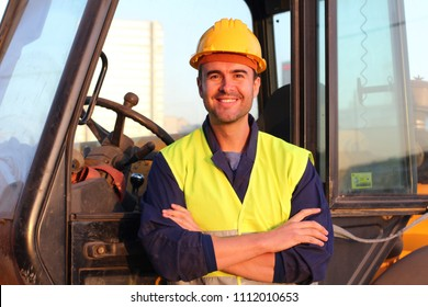 Professional construction industry driver close up