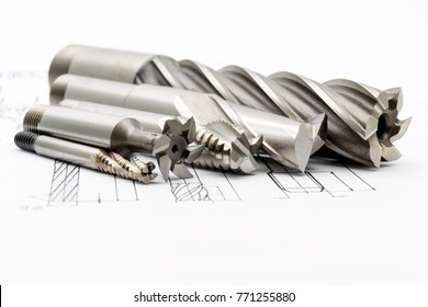 Professional cutting tools used for metalwork. Multi-flute drill, broach bit, Stainless Drill bit, Ripping Cutter.