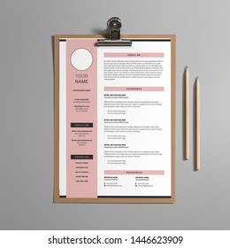 Professional CV resume template design modern basic minimal - pink and black