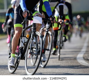 Professional cyclists participate in a road cycling race
