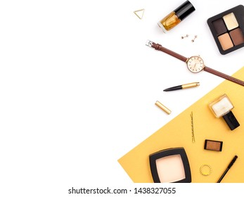 professional decorative cosmetics, makeup tools and accessory on white background with copy space for your text. beauty, fashion, party and shopping concept. flat lay frame composition, top view