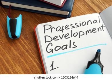 Professional development goals list in a note.