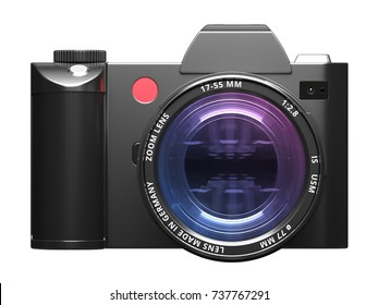 Professional digital camera isolated on white background. 3D rendering.
