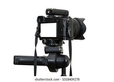 A Professional digital mirrorless camera on tripod on white background, Camera for photographer or Video, Live Streaming equipment concept, include clipping path