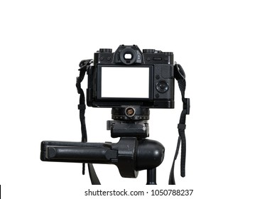 A Professional digital mirrorless camera on tripod on white background, Camera for photographer or Video, Live Streaming equipment concept