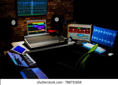 professional digital recording equipment in sound studio. music, recording, editing, broadcasting concept background