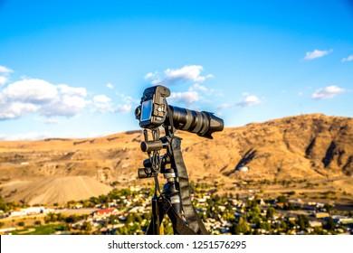 Professional Digital SLR Camera and Tripod on the Mountain, Washington-USA