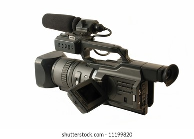 Professional digital video camera isolated on the white background