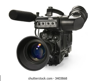 Professional digital video camera, isolated on white background