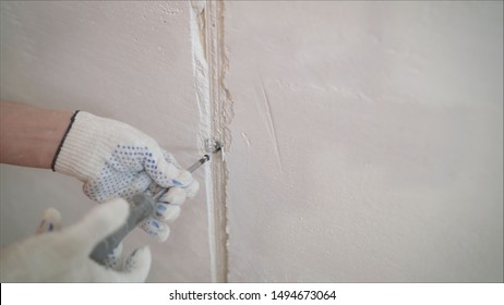 A professional disinfector in overalls processes the walls from mold with a brush. Removal of black fungus in the apartment and house. Aspergillus. Worker is processing the wall.