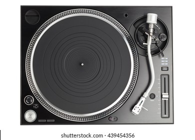 professional dj turntable isolated on white, top view
