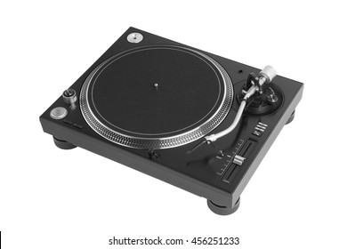 professional dj turntable isolated on white