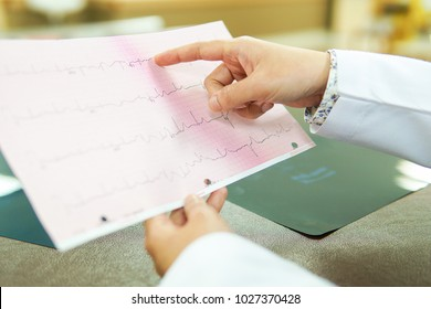 Professional doctor points to the graph electrocardiogram of patients. medical and healthcare concept.