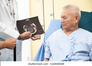 Professional doctor showing an examination report while consult in or counsel diagnosis healthto Asian senior elderly or patient Parkinson or alzheimer in hospital. Medical healthcare concept