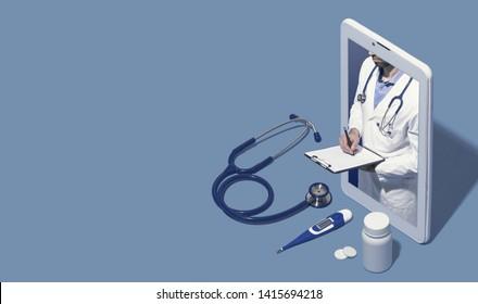 Professioneller Arzt in einem Smartphone, der eine Online-Beratung anbietet, schreibt medizinische Unterlagen und gibt ein Rezept, Telemedizin- und Gesundheitskonzept, Blankokopraum