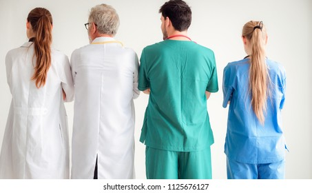 Professional doctor team are standing on isolated background., Healthcare and occupational concept.