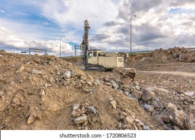 Professional drilling rig doing a geotechnical study of the terrain