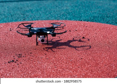 Professional drone on Ground. New technology in the aero photo shooting.