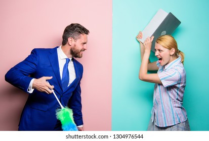Professional education and careers. Woman choose to work digital technology. Man force girl to clean up. Gender inequality start from household. Gender discrimination. Gender inequality concept.
