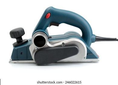 Professional electric planer, side view. Isolate on White background.