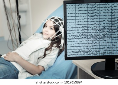 Professional electroencephalogram. Selective focus of a computer monitor showing electrical activity of the brain