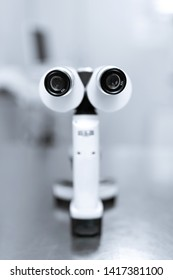 Professional equipment ophthalmologist manual slit lamp.Biomicroscopy using a slit lamp.Blurred Background.