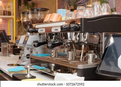 Professional espresso coffee making machine in a restaurant