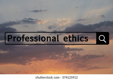 Professional ethics written in search bar with the sunset visible in the background.