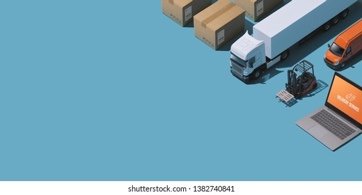 Professional express delivery, warehousing and shipment service: isometric trucks, boxes and laptop