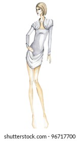A professional fashion illustration, made  pencils and markers.Girl in blue - gray dress. Part of collection.