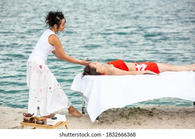 Professional female massage by the sea