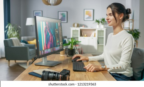 Professional Female Photographer Works in Photo Editing App / Software on His Personal Computer. Photo Editor Retouching Photos of Beautiful Girl. Mock-up Software Design.