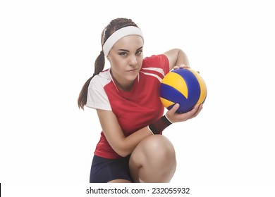 Professional Female Volleyball Player Sitting With Ball. Isolated Over Pure White Background. Horizontal Image