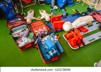 professional first aid kit full of equipment even action figures and baby figures for training ,