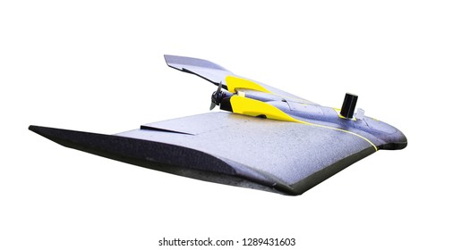 Professional fixed wings drone, side view over right wing, isolated on white background