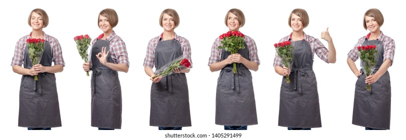 professional florist with flowers isolated on white studio background. collage with smiling gardener holding bouquet. gardening service, floriculture, floristry business and shopping concept