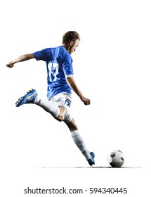 Professional football soccer player in action isolated white background - Shutterstock ID 594340445