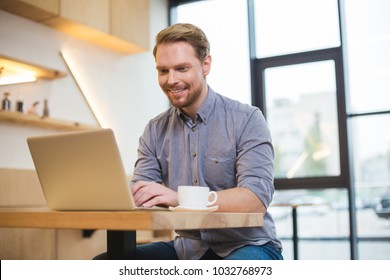 Professional freelancer. Cheerful nice positive delighted man sitting at the table and working on the laptop while being a freelance